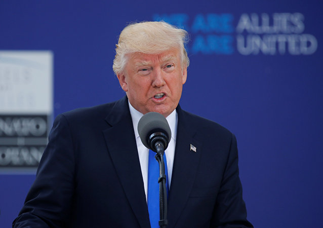 U.S. President Donald Trump speaks at the start of the NATO summit at their new headquarters in Brussels, Belgium