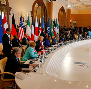 General view of the discussion table at the G7 Summit expanded session in Taormina, Sicily, Italy, May 27, 2017