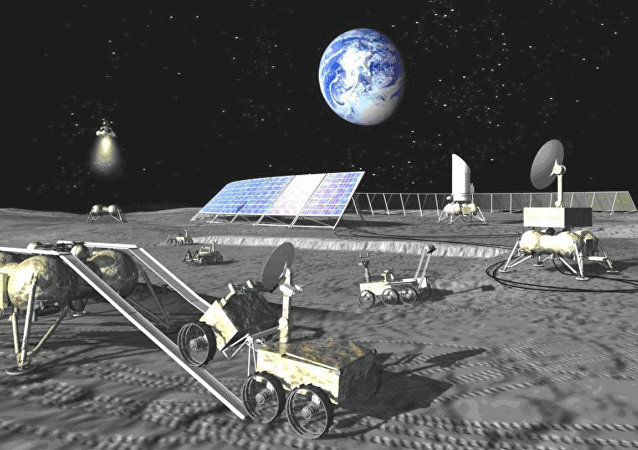 An artist concept of a Russian lunar base