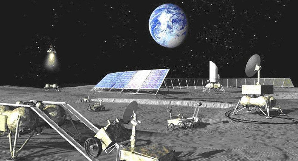 An artist concept of a Russian lunar base