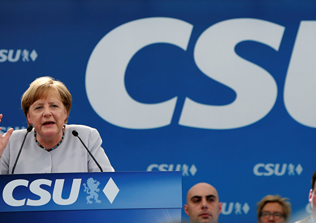 erman Chancellor and head of the Christian Democratic Union (CDU) Angela Merkel speaks during the Trudering festival in Munich, Germany, May 28, 2017
