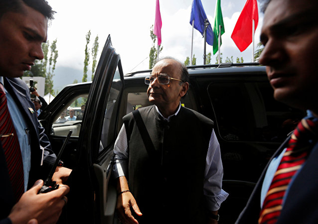 India's Finance and Defence Minister Arun Jaitley arrives to attend a two-day meeting of the Goods and Services Tax (GST) Council, comprising federal and state finance ministers, in Srinagar May 18, 2017