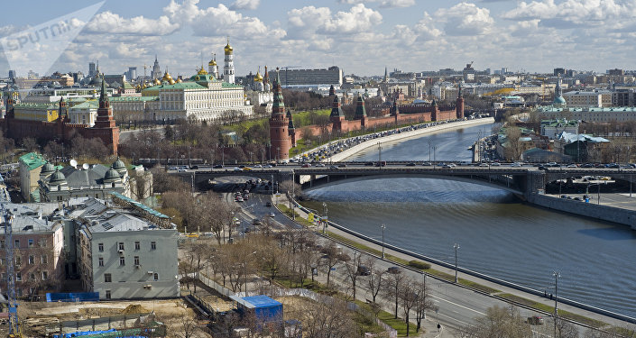 View of the Moscow Kremlin, the Moskva River from the Cathedral of Christ the Savior in Moscow
