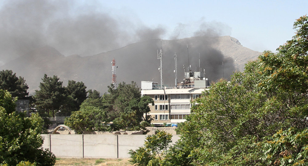 (File) Smoke rises from the site of a blast in Kabul, Afghanistan May 31, 2017.