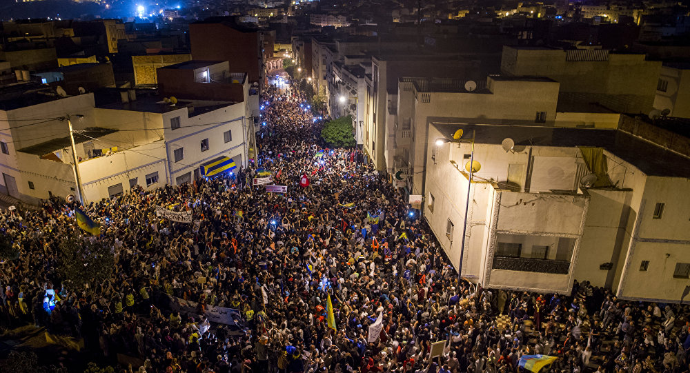 Thousands of protestors crowd the steets of the northern Moroccan city of Al-Hoceima, during a demonstration demanding the release of Nasser Zefzafi, head of the grassroots Al-Hirak al-Shaabi, or Popular Movement