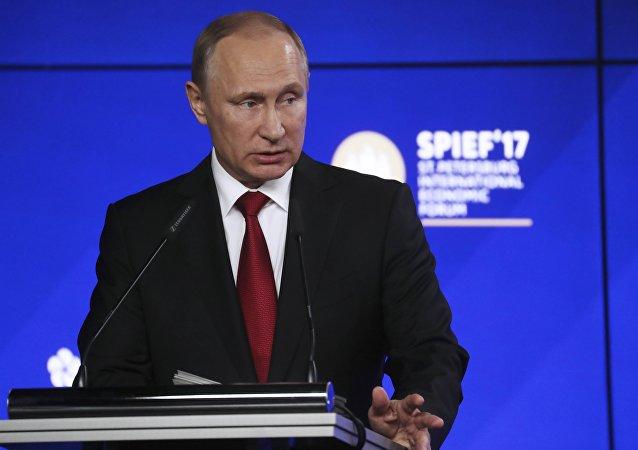 Russian President Vladimir Putin delivers a speech at the St. Petersburg International Economic Forum (SPIEF), Russia, June 2, 2017.