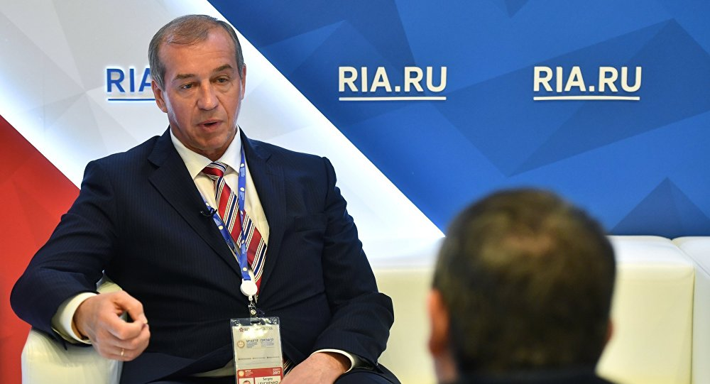 Governor of the Irkutsk Region Sergei Levchenko during an interview with RIA Novosti at the 2017 St. Petersburg International Economic Forum