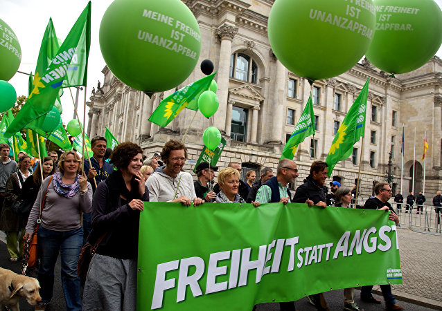 A demonstration by the German Alliance 90/The Greens, called #FsA14 - Freiheit statt Angst [freedom instead of fear]