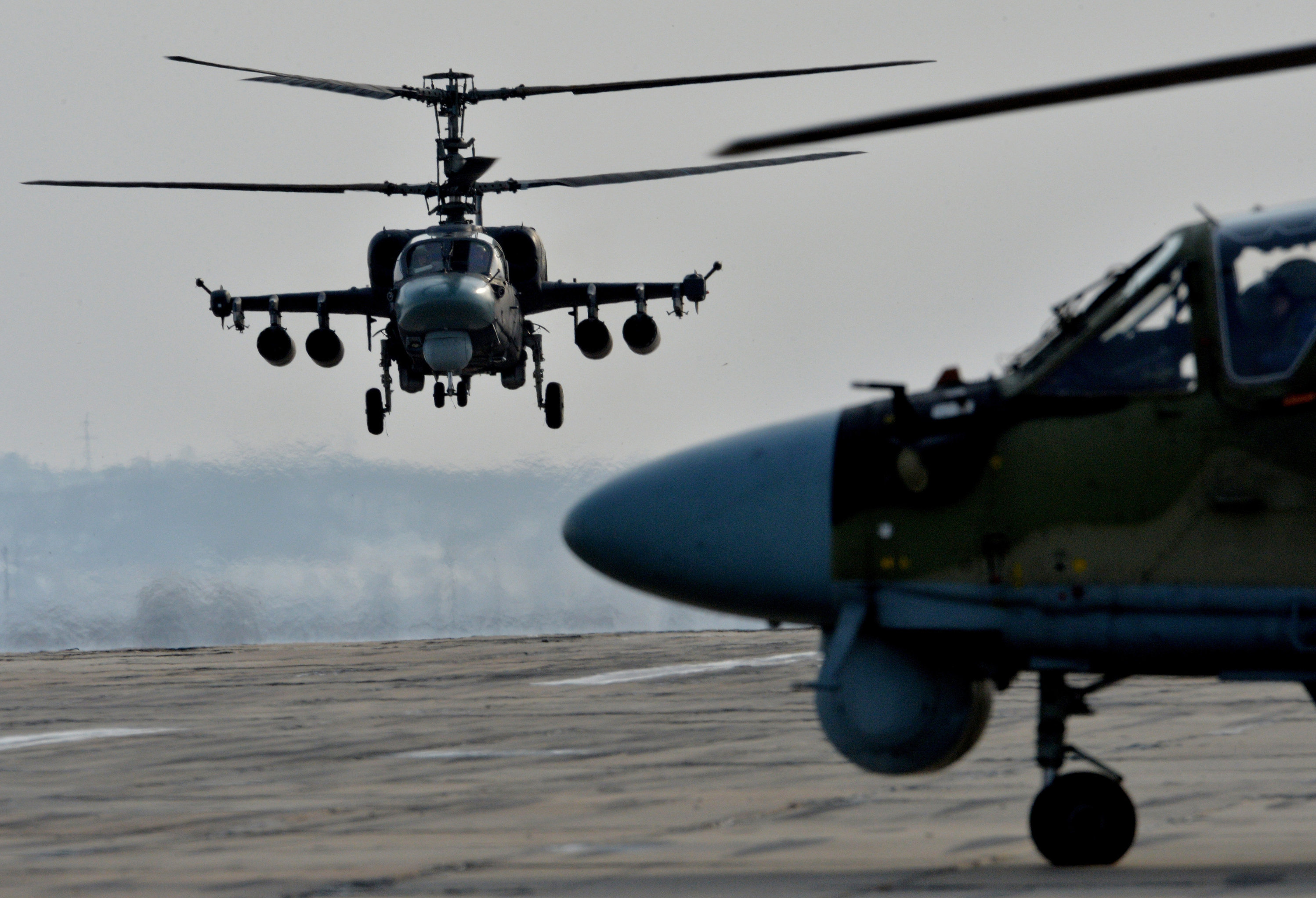 Ka-52 Alligator helicopters during tactical flight training. (File)