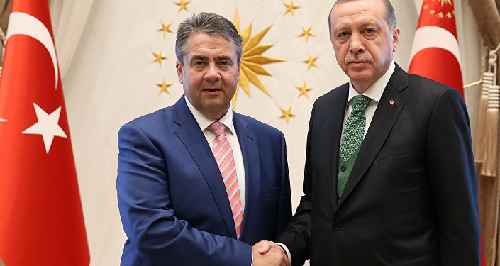 Turkish President Tayyip Erdogan meets with German Foreign Minister Sigmar Gabriel in Ankara, Turkey, May 5, 2017.