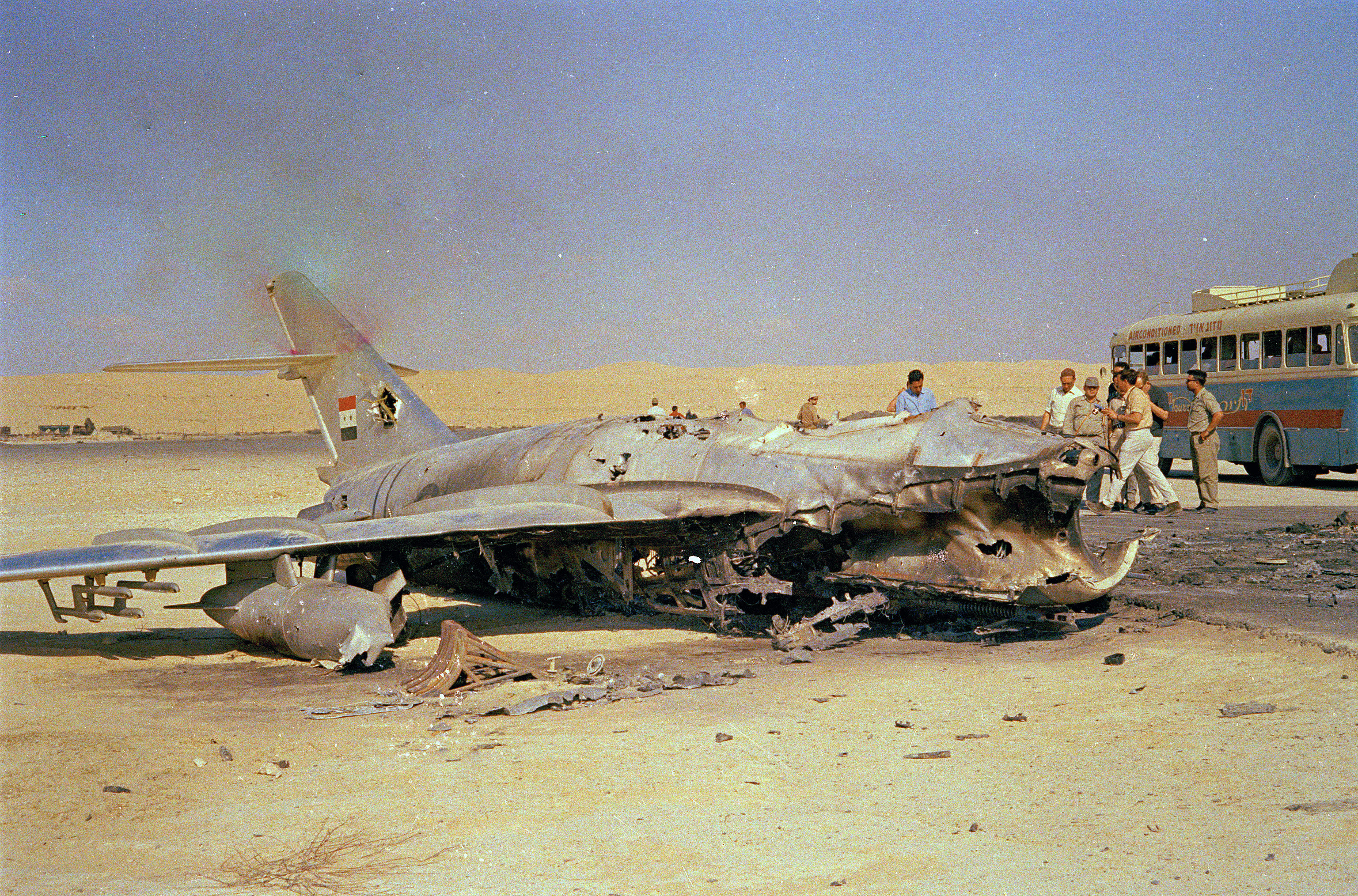 An Egyptian warplane lays destroyed on the ground following an attack by Israeli aircraft, June 1967