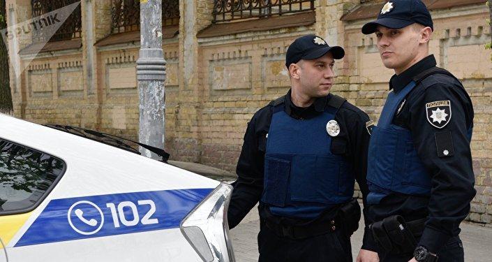 Officers of the Ukrainian police in Kiev