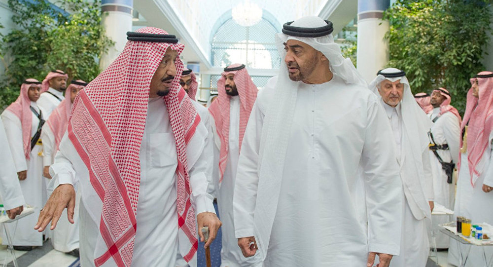 Saudi Arabia's King Salman bin Abdulaziz Al Saud (L) chats with Abu Dhabi Crown Prince Sheikh Mohammed bin Zayed al-Nahyan in Jeddah, Saudi Arabia, June 2, 2017. Picture taken June 2, 2017.