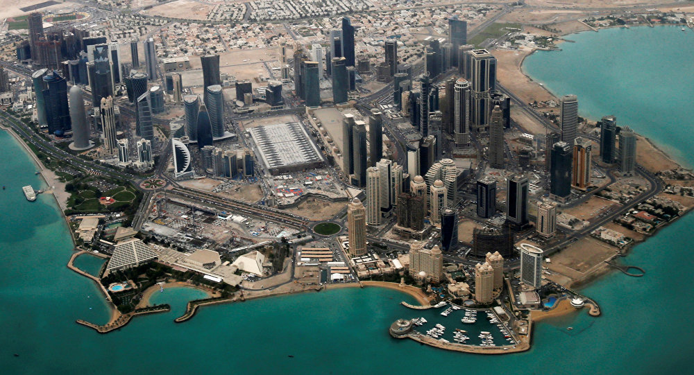 FILE PHOTO - An aerial view of Doha's diplomatic area March 21, 2013.