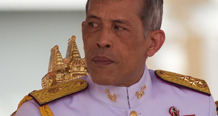 Thailand's King Vajiralongkorn Bodindradebayavarangkun addresses the audience at the royal plowing ceremony in Bangkok, Thailand, Friday, May 12, 2017.