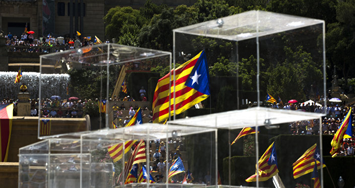 People wave pro independence flags next to ballot boxes during a protest organised by the National Assembly for Catalonia, to support the call for referendum in Barcelona, Spain