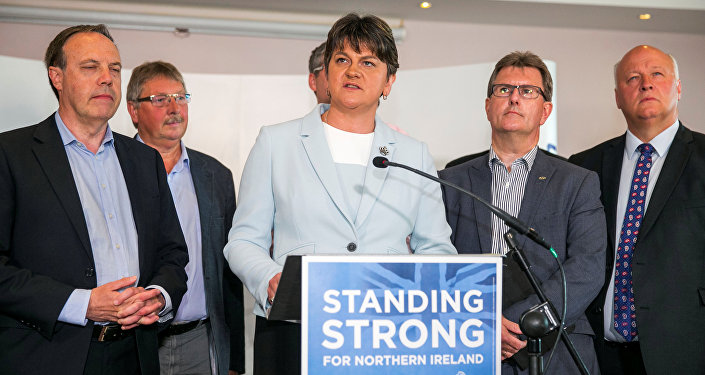 Leader of the Democratic Unionist Party (DUP) Arlene Foster addresses journalists in Belfast, Northern Ireland, June 9, 2017