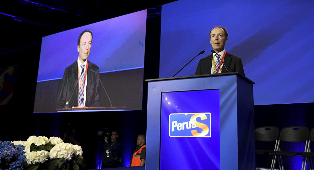 Chairman of the Finns Party and Member of the European Parliament Jussi Halla-aho delivers his speech at the Finns Party congress in Jyvaskyla, Finland June 11, 2017