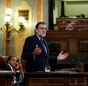 Spanish Prime Minister Mariano Rajoy speaks during a motion of no confidence debate in parliament in Madrid, Spain, June 13, 2017