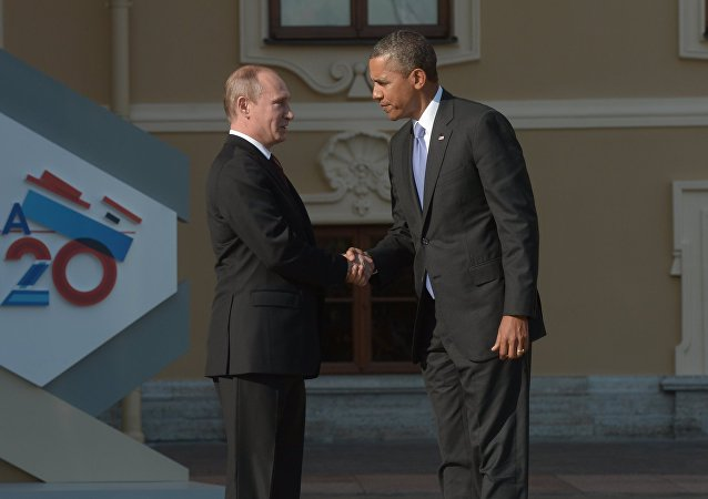 Russian President Vladimir Putin, left, and President of the United States of America Barack Obama during the official welcome of heads of delegations of G20 member states, invited countries, and international organizations. File photo