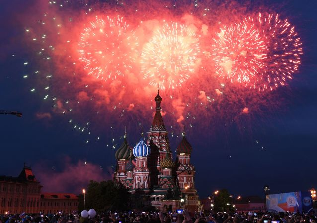 Russia Day fireworks display on Red Square, Moscow