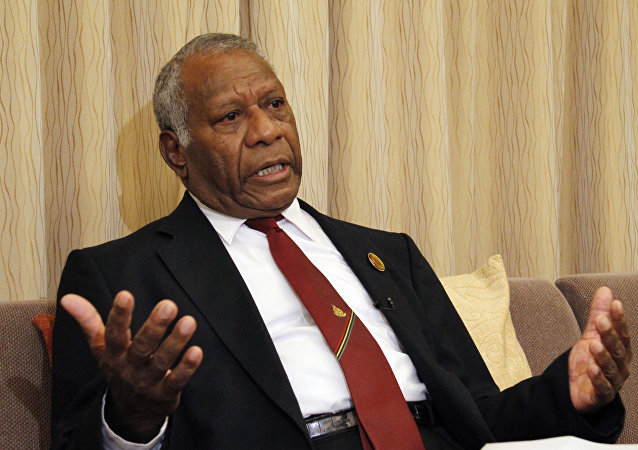 In this March 16, 2015 file photo, Vanuatu President Baldwin Lonsdale speaks during an interview in his hotel room in Sendai, Miyagi prefecture, northeastern Japan while attending a U.N. conference on disaster risk reduction.