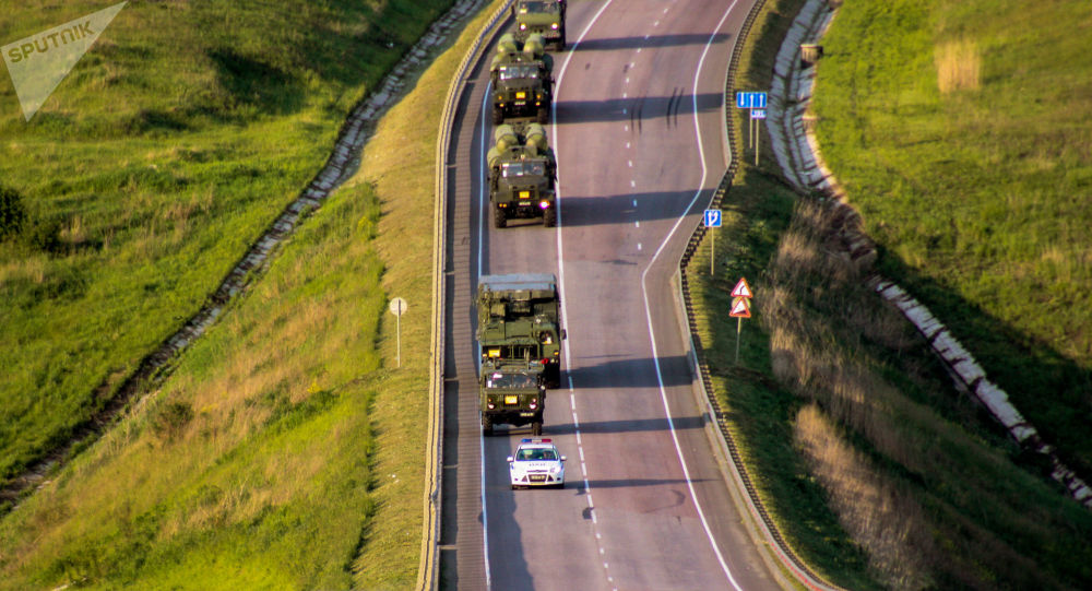 S-300 Favorite surface-to-air missile systems battalion during a march conducted as part of a bilateral drill involving air defense and aviation forces of the Western Military District
