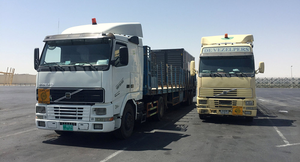 Trucks are seen at the Abu Samra border crossing with Saudi Arabia, in Qatar