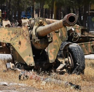 Weapons that need replacement of gun barrels at the artillery weapon, mortar and small arms repair works in Hama province, Syria
