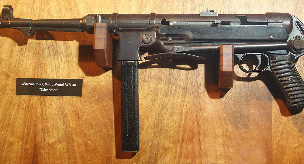 Machine pistol, 9mm, Model M.P. 40 Schmeisser submachine gun. Exhibited at the Battery Randolf US Army Museum in Honolulu, Hawaii.