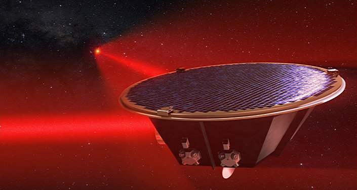 Artist's impression of a Laser Interferometer Space Antenna (LISA) mission concept spacecraft