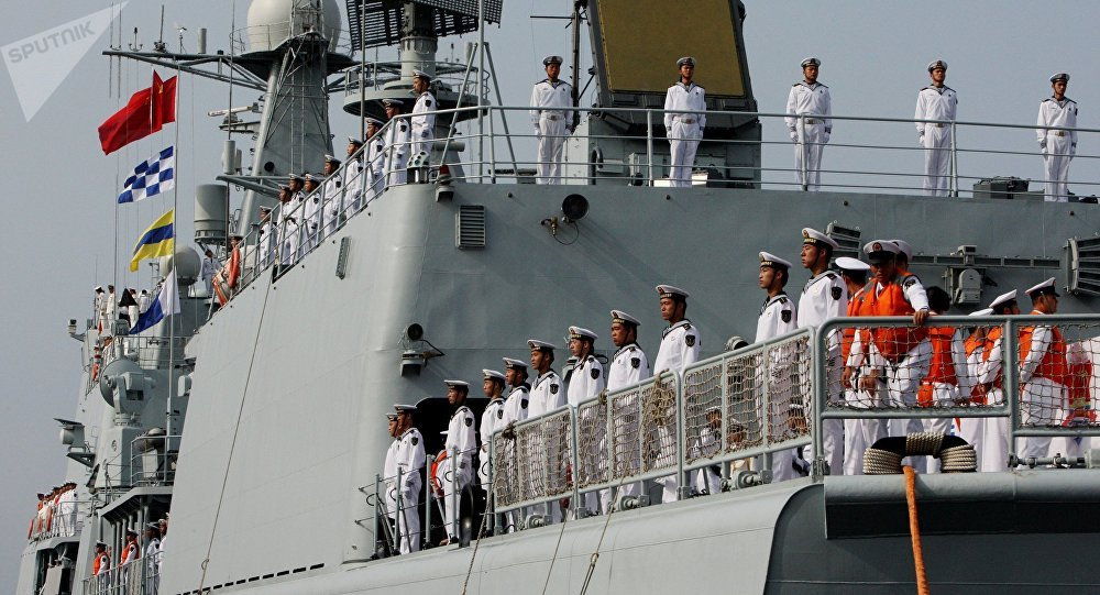 The crew of the destroyer Shenyang that has arrived in Vladivostok together with six other Chinese warships for the second stage of the Naval Cooperation 2015 exercise.