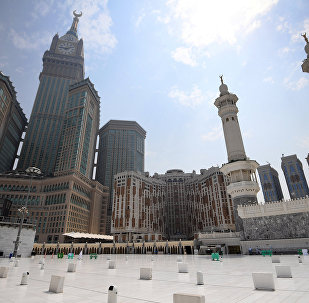 View of Abraj Al bait complex from the roof of the Masjid al-Haram mosque, Mecca