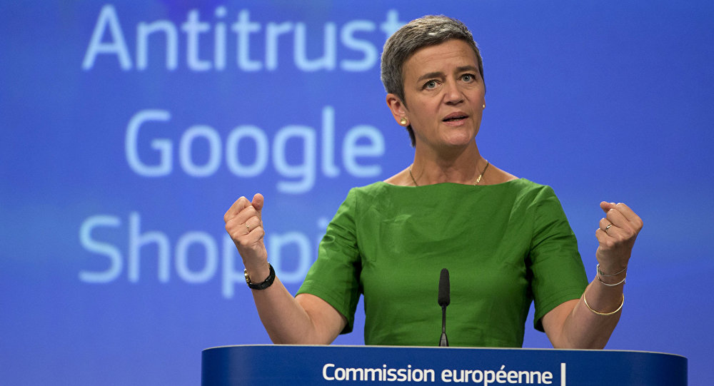European Union Commissioner for Competition Margrethe Vestager speaks during a media conference at EU headquarters in Brussels on Tuesday, June 27, 2017.