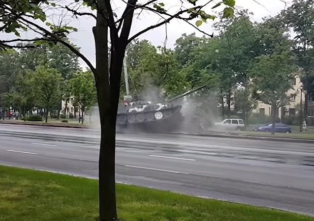 Tank Crashes Into A Street Light In Minsk