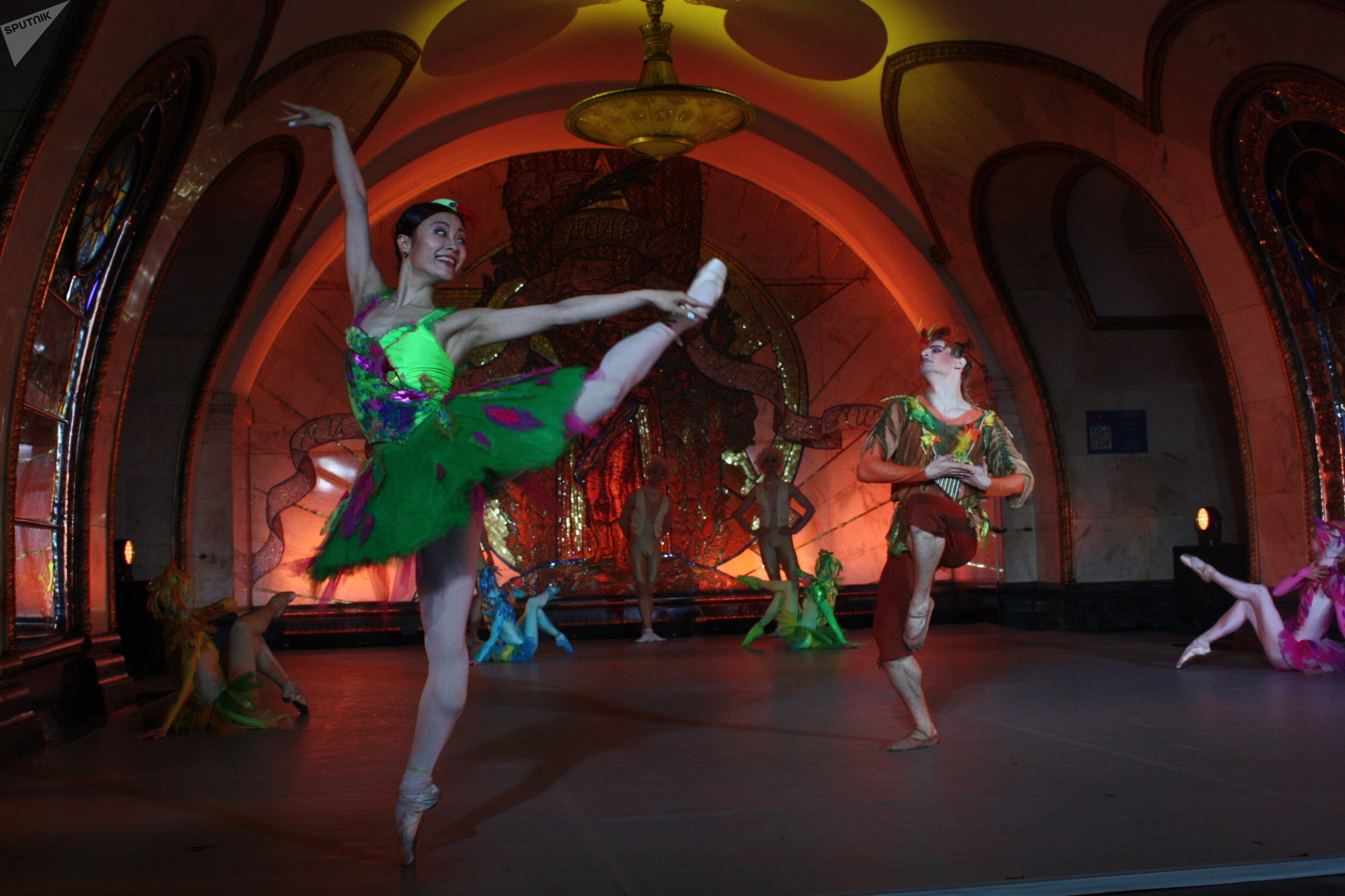 Dancers of the Kremlin Ballet perform parts of their best productions during the Russian Ballet Night at the Novoslobodskaya station of the Moscow Metro