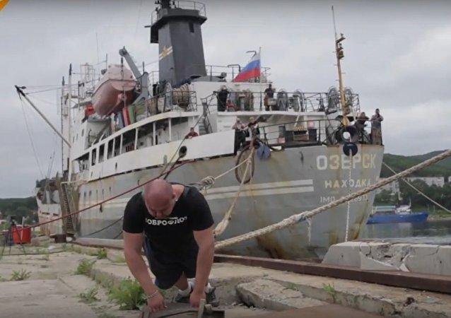 Strongman Savkin Pulls A Huge Boat