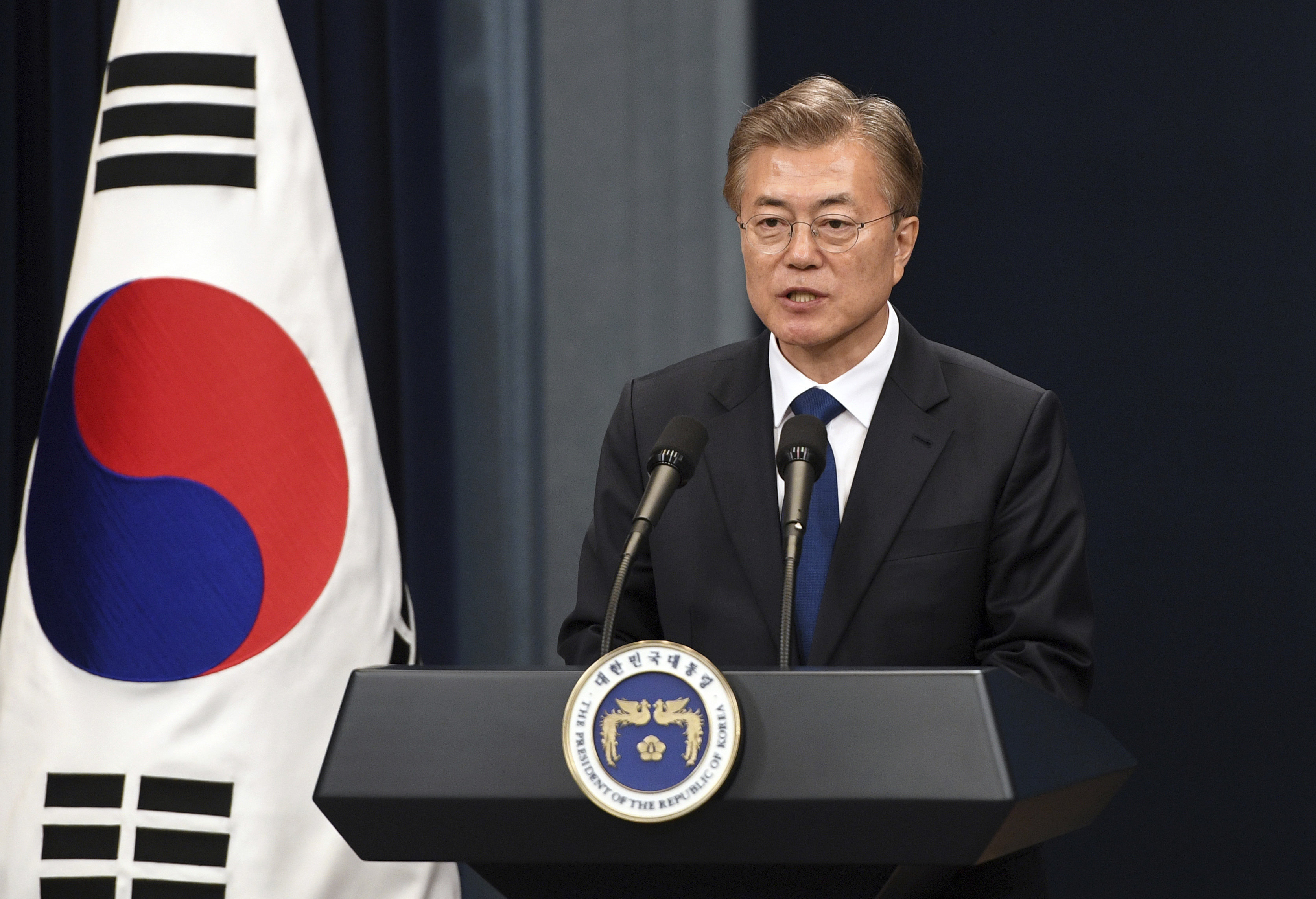 South Korea's new President Moon Jae-In speaks during a press conference at the presidential Blue House in Seoul Wednesday, May 10, 2017