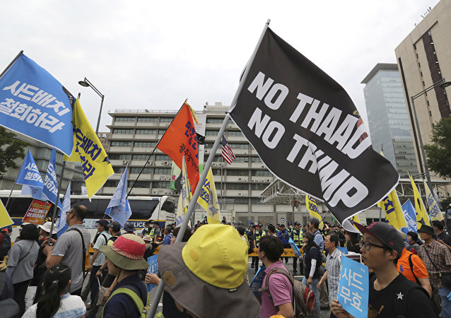 Protesters demonstrate against THAAD outside the US Embassy in Seoul, June 24, 2017