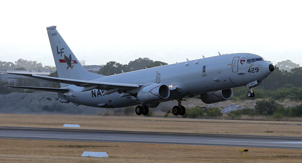 A US Navy P-8 Poseidon takes off from Perth Airport in 2014.