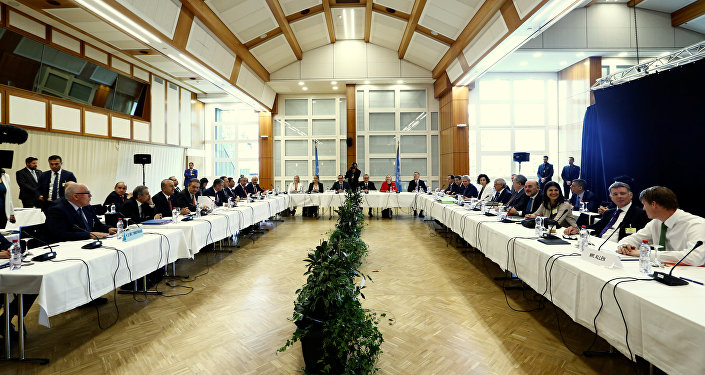 Overview at the start of the peace talks on divided Cyprus, under the supervision of the United Nations in the alpine resort of Crans-Montana, Switzerland June 28, 2017