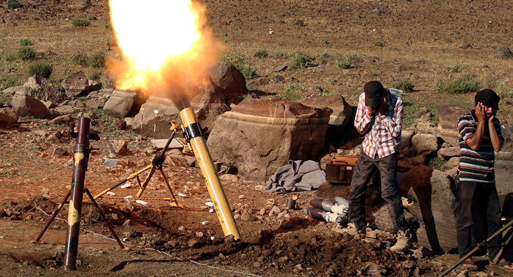 Militants fire mortar shells towards forces loyal to Syria's President Bashar al-Assad in Quneitra province, bordering the Israeli-occupied Golan Heights, Syria June 24, 2017