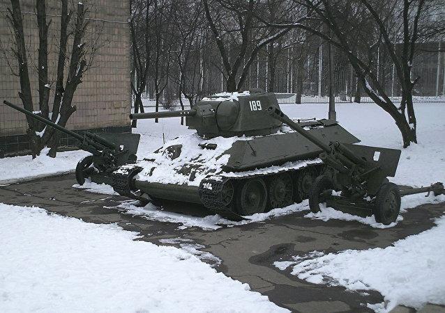 T-34 medium tank on display at Donetsk museum