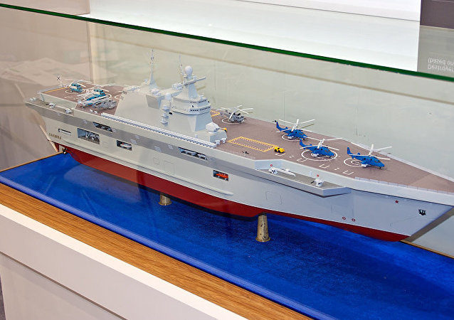 Model of Priboi amphibious assault ship