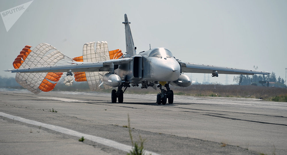 Su-24 Russian bomber lands at the Hmeimim air base in Latakia, Syria.