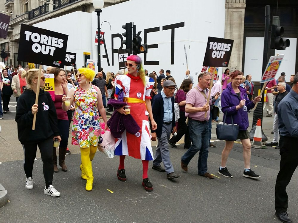 Protesters descended on central London for march against Theresa May on July 1.