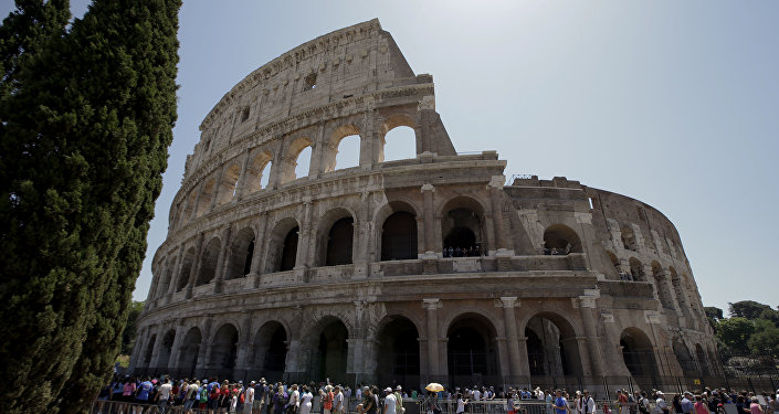 A view of the Colosseum after the first stage of the restoration work was completed in Rome, Friday, July 1st, 2016.