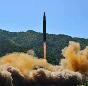 The intercontinental ballistic missile Hwasong-14 is seen during its test in this undated photo released by North Korea's Korean Central News Agency (KCNA) in Pyongyang, July 5 2017