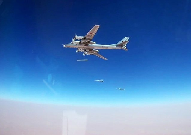 A Tu-95MS bomber launches a Kh-101 cruise missile at the ISIS facilities (Islamic State, an international terrorist organization banned in the Russian Federation) in Syria