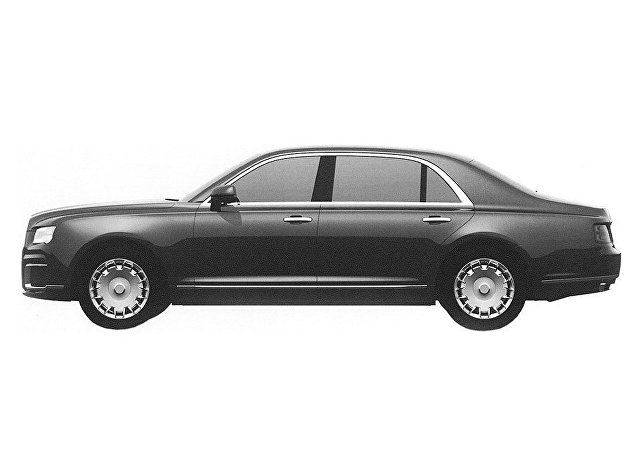 Prospective exterior design of the sedan in the Kortezh ('Cortege') project